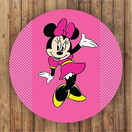 Painel Tecido Redondo Minnie Decoração Festa 01
