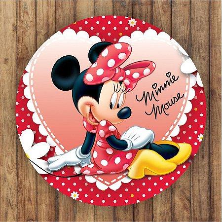 Painel Tecido Redondo Minnie Decoração Festa 02