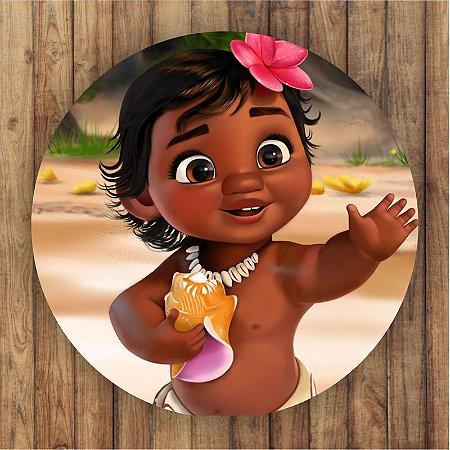 Painel Tecido Redondo Moana Baby Decoração Festa 03