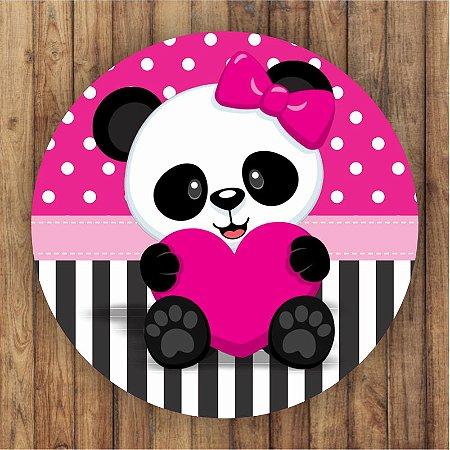 Painel Tecido Redondo Panda Menina Decoração Festa 08
