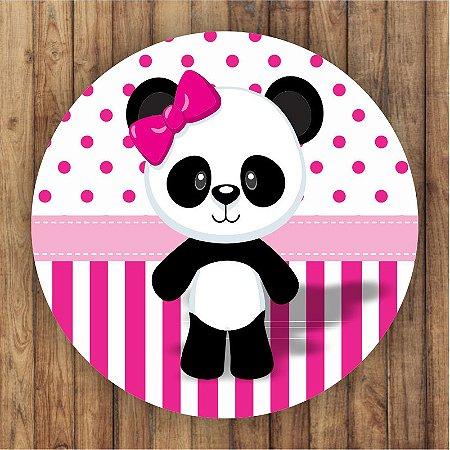Painel Tecido Redondo Panda Menina Decoração Festa 11