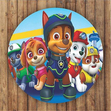 Painel Tecido Redondo Patrulha Canina Decoração Festa 08