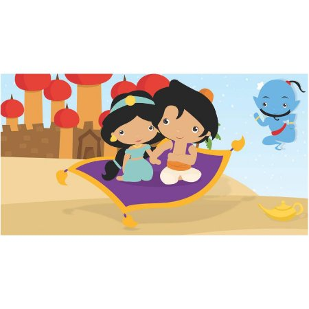 Painel em Lona Aladdin e Jasmine Cute 01