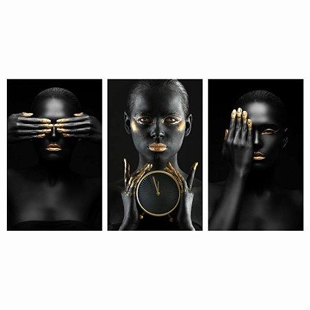 Conjunto Quadro Decorativo Mulher Negra Para Sala 150x80 - Mod01