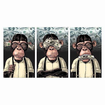 Quadros Decorativos Macacos Sábios 150x80 - Mod02