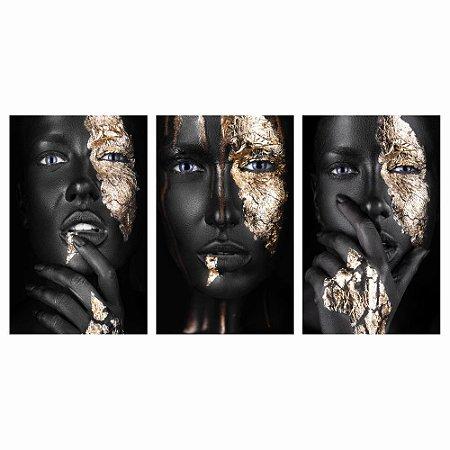Quadro Mulheres Negras 150x80 Cm Fullhd Maquiagem Dourada