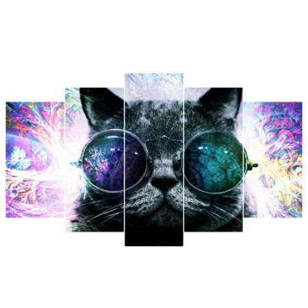 Quadro Mosaico Decoração 5 Peças Psicodélico Gato Mod 02