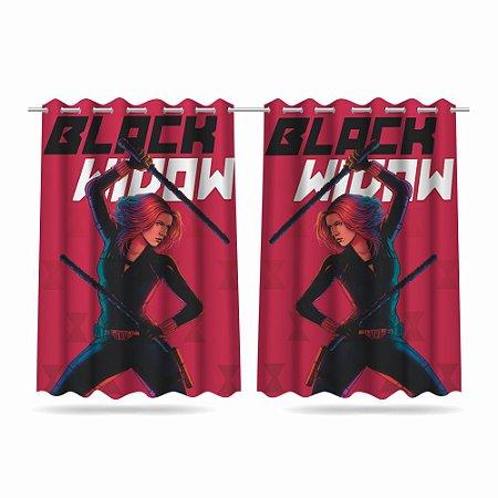 Cortina Infantil Vingadores Viúva Negra 2,60x1,50 Tecido MOD 02