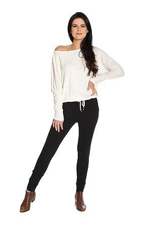 Blusa M/L ombro caido com amarração off white