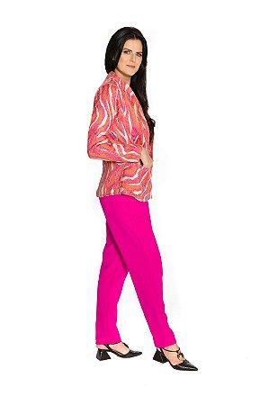 Blazer com bolsos estampa rosa com laranja