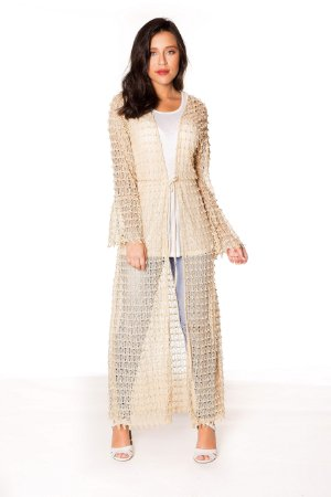 Kimono Maxi Crochet Areia| kimono saída de praia| Coleteria