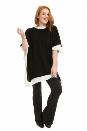 Poncho coleteria tricot preto