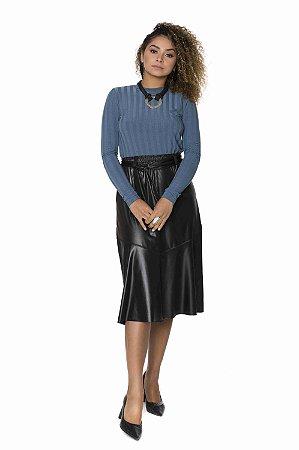 Blusa coleteria manga longa ribana azul