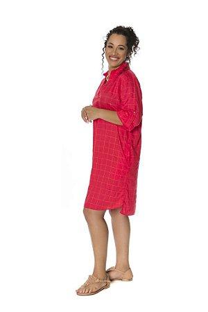 Vestido chemise tecido trabalhado dourado cereja