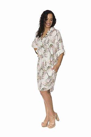Vestido chemise estampa digital folhas