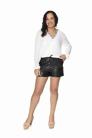 Shorts cirre fosco com bolso preto