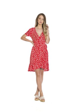 Vestido curto transpassado babado viscocrepe estampa floral vermelho