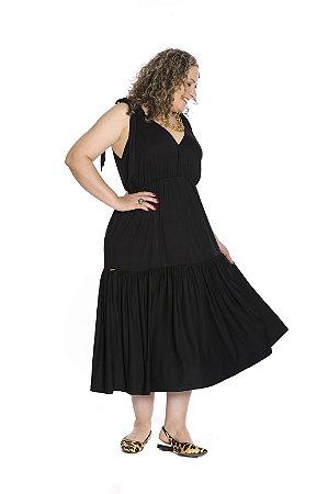Vestido longo sem manga preta alça com laço regulável