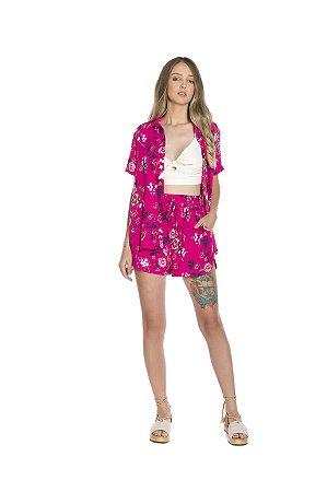 Camisa c/ botões viscoflair estampa floral fundo rosa