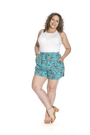 Shorts rebel com amarração viscoflair estampa barquinho c/ folhas fundo azul