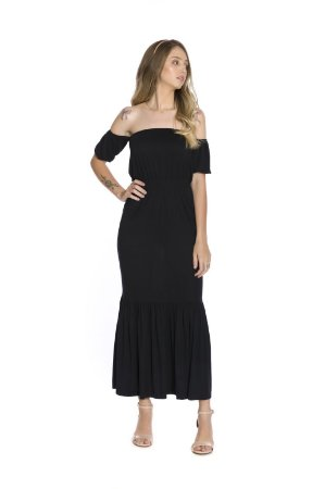Vestido longo manga curta saia uma maria ciganinha preto