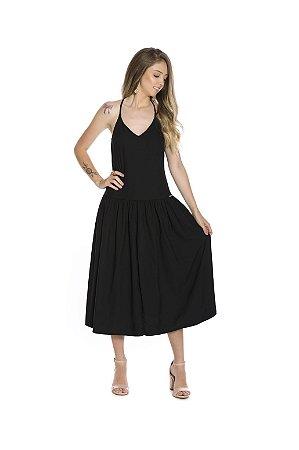 Vestido longo alça fina viscose maquinetada preto