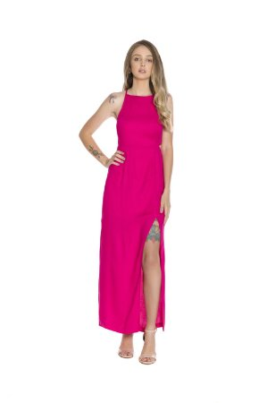 Vestido longo fenda lateral alça fina regulável rosa