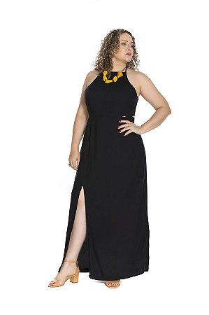 Vestido longo fenda lateral alça fina regulável preto