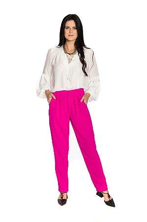 Calça cintura alta crepe rosa