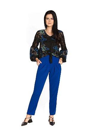 Calça cintura alta crepe azul royal