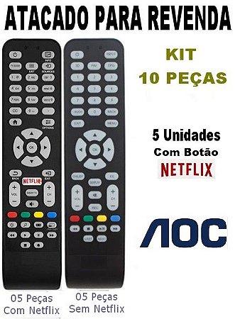 Kit 10 Peças Controle Remoto TV AOC com e Sem botão Netflix