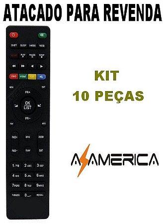 Controle Remoto Receptor Azamérica F94 - Kit 10 peças
