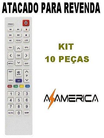 Controle Remoto Receptor Azamérica S1009 - Kit 10 Peças