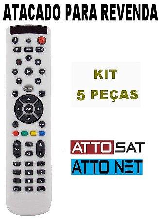 Controle Remoto Receptor Atto Sat / Atto Net Kit com 5 Peças