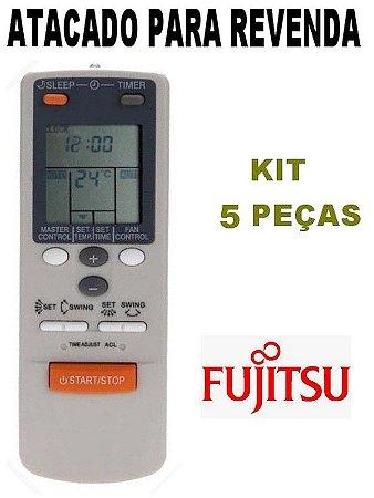 Controle Remoto Ar Condicionado Fujitsu AR-JW2 / AR-JW17 / AR-JW27 / AR-JW30 - Kit 5 peças