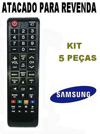 Controle Remoto Tv Lcd Led Samsung BN98-04686A com Tecla Futebol Kit 5 Peças