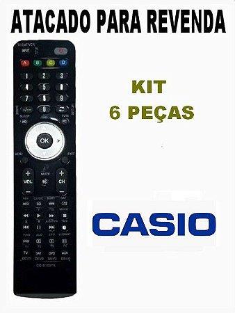 Controle remoto Projetor Casio  YT-140 / YT-150 / XJ-UT255 / XJ-UT310WN / XJ-VC100 / XJ-VC270  kit com 6 peças