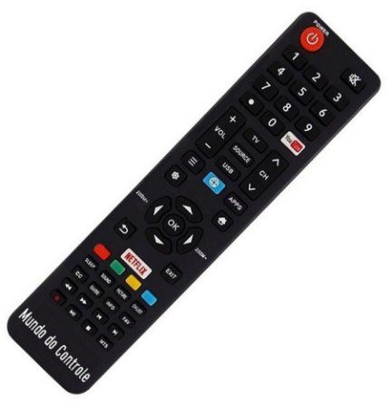 "Controle Remoto Smart TV 4K LED 49"" Semp Toshiba SK6000 / CT-6841 com Netflix / Youtube"