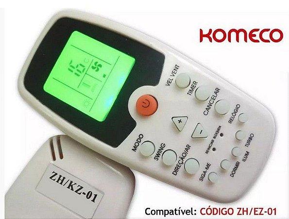 Controle Remoto Ar Condicionado Split Komeco Maxime Pricess Lotus Inverter Zh/Kz01 / Zh/Ez-01