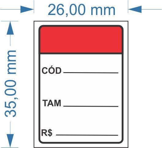 Etiqueta 35x26mm com furo 500 etiquetas (Código/Tamanho/Valor)