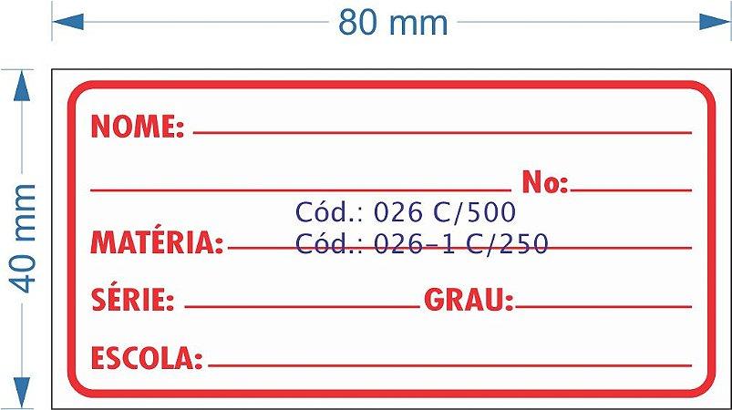 Etiqueta 80x40mm com 500 etiquetas (Escolar/Nome/Matéria)