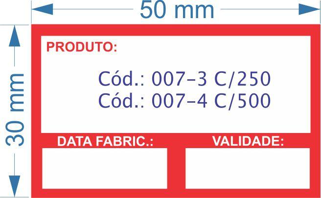 Etiqueta 50x30mm com 500 etiquetas (Produto/Fabricação/Validade)