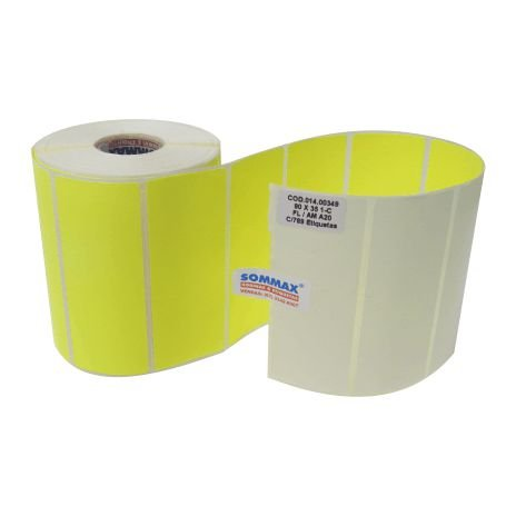 Etiqueta 90x35mm Fluorescente Amarelo Com Adesivo C/789