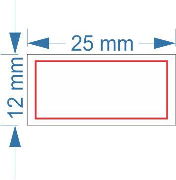 Etiqueta 25x12mm com 500 etiquetas (Borda Vermelha)