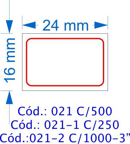 Etiqueta 24x16mm com 500 etiquetas (Borda Vermelha)