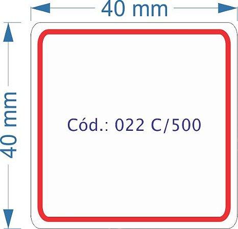 Etiqueta 40x40mm com 500 etiquetas (Borda Vermelha)