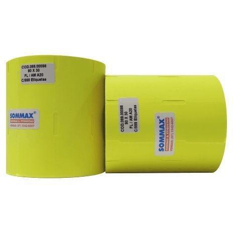Etiqueta para FRIZO 90x30mm Fluorescente Amarelo Com Furo e Gap Lateral Com Adesivo