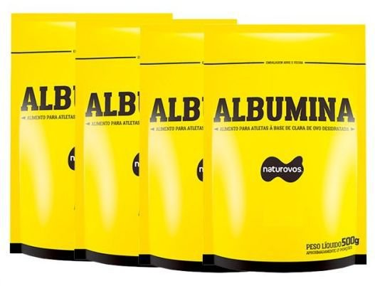 4x Albuminas 500g (Total 2kg) Morango - Naturovos