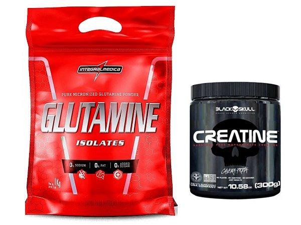 Glutamina 1kg Refil - Integralmedica + Creatina 300g Caveira Preta - Black Skull