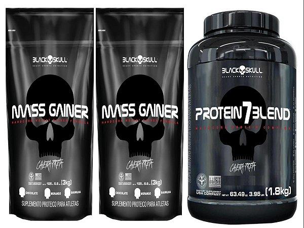 2x Mass Gainer 3kg - Black Skull + 1 Protein 7Blend 1,8kg - Black Skull